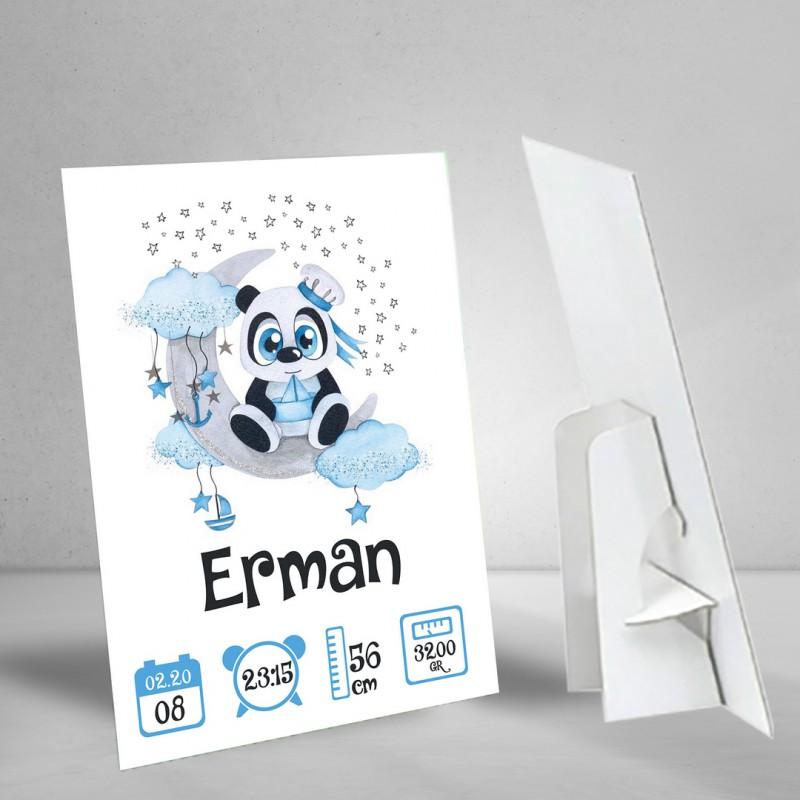 Panda Konseptli Bir Yaş Künyesi - Doğum Günü Karşılama Afişi