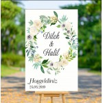 Çiçek Çerçeveli Düğün Karşılama Afişi